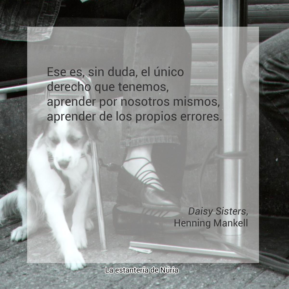 Ese es, sin duda, el único derecho que tenemos, aprender por nosotros mismos, aprender de los propios errores. Daisy Sisters, Henning Mankell