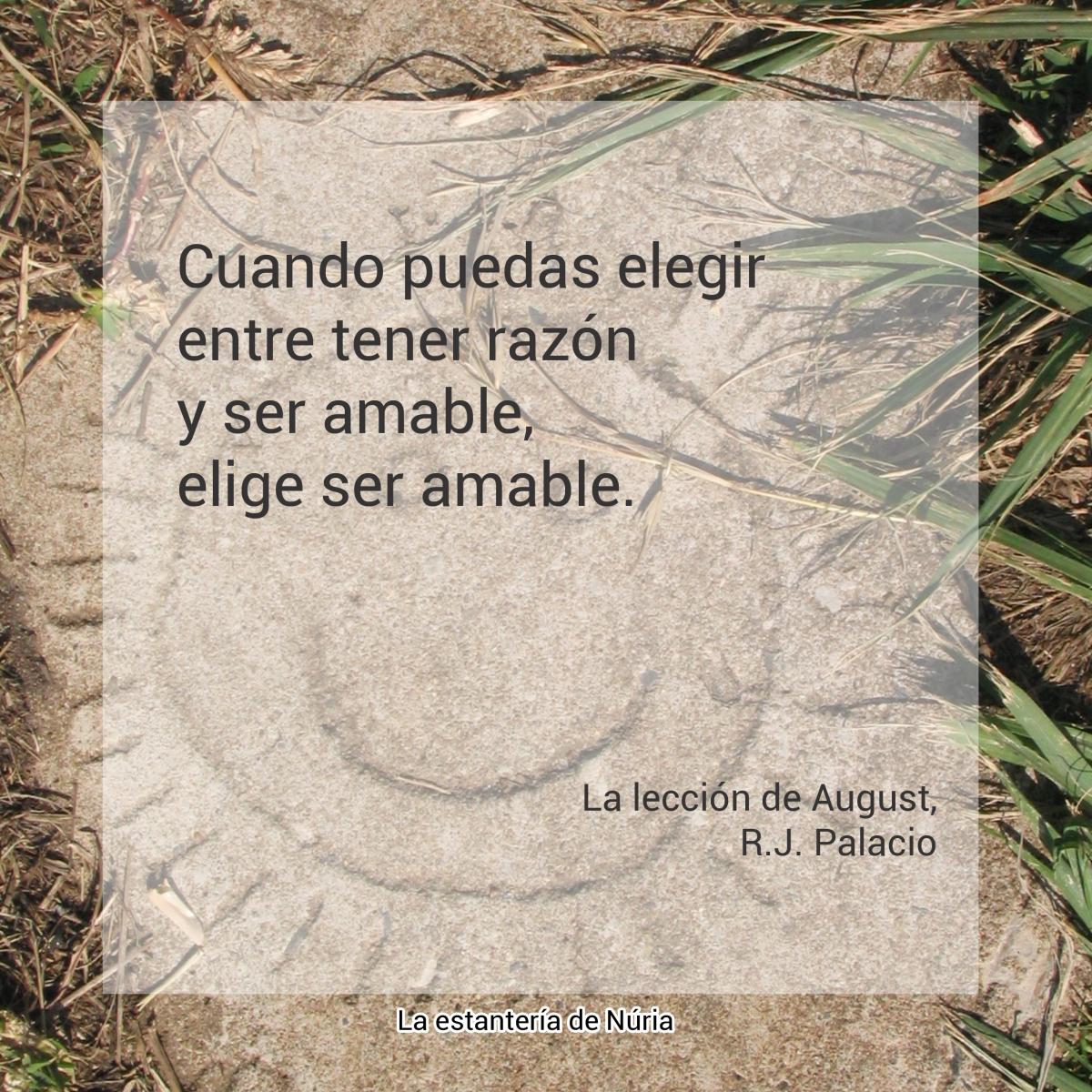 Cuando puedas elegir entre tener razón y ser amable, elige ser amable. La lección de August, R.J. Palacio